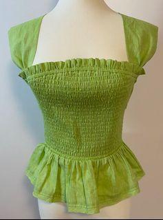 歐美草綠露背綁帶上衣