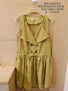 風衣襯衫設計無袖短洋裝薑黃色