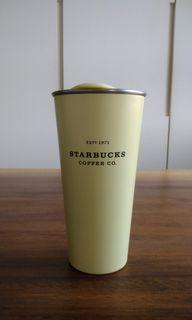 星巴克 鵝黃色不鏽鋼杯