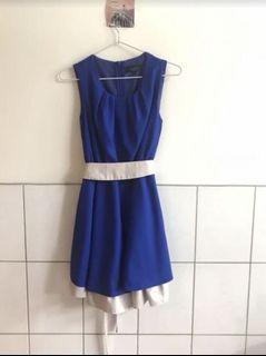 夏天 附上腰帶 拼接 小禮服 背心洋-藍