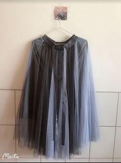 夏天 浪漫 綁帶 雙色 鬆緊 紗裙-藍灰