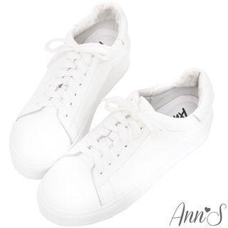 真皮小白鞋  Ann's 第三代牛皮休閒厚底小白鞋 39號 amai grace gift #618