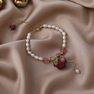 {朵朵韓飾} B6802 韓國直送(正韓)-法式復古天然淡水珍珠玫瑰乾花手鍊