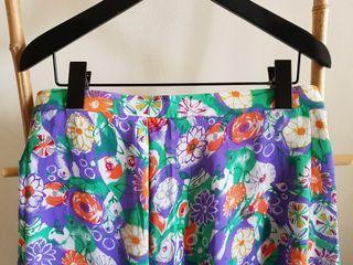 二手 vintage 古著 復古粉紫鮮豔印花中長裙