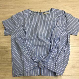 Blue Stripes Knot Blouse