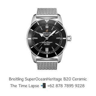 Breitling SuperOcean Heritage B20 Black Dial Ceramic Bezel with Mesh Bracelet 42m