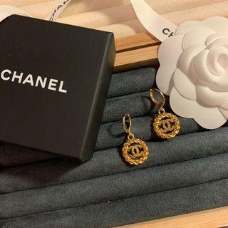 Chanel吊墜改製 金色耳圈耳環 2入