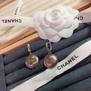 Chanel 銀色圓形耳環 二手改製