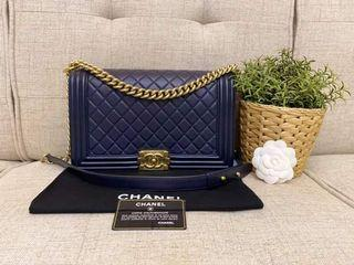 Chanel Leboy New Medium Calf Leather in Navy GHW Series 21