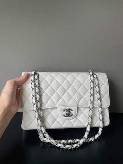 Chanel Medium White Double Flap Caviar SHW Series 15