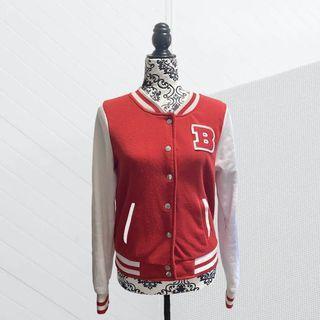 Letterman B Varsity Jacket Button Up Size L