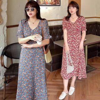 Plus Size Floral V Neck Dress