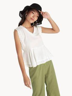 pomelo white blouse sleeveless eyelet frill hem top atasan putih