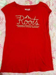 Roots紅色絨logo無袖上衣