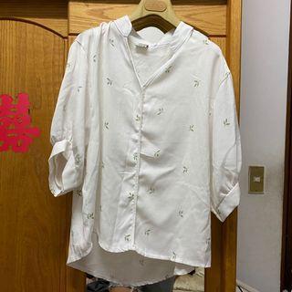 二手/Sassy 葉片雪紡七分袖襯衫 🍃氣質