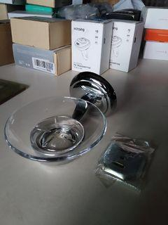 Soap Glass Dish Detachable Holder , Wall mounted Brass Chrome Fixture