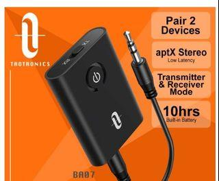 TaoTronics BA07 Bluetooth 5.0 Audio Transmitter/Receiver  (2-in-1 ) Wireless 3.5mm Adapter,support AptX, dual pairing