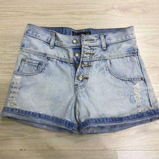 Washed Denim Short Jeans