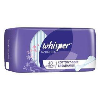 WHISPER COTTONY-SOFT BREATHABLE PANTILINERS 14CM X40S UNSCENTED LINERS