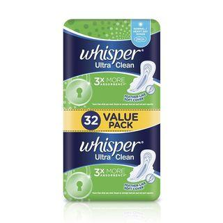 WHISPER ULTRA CLEAN HEAVY FLOW WINGS 3XMORE ABSORBENCY FEATHER- LIKE SOFT COVER 28CM  32S VALUE PACK