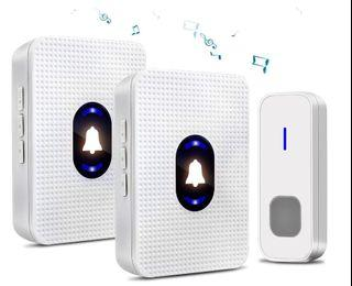 Wireless Doorbell Kit Yvelines - 2 Plug-in Receiver & 1 Push Button, IP55 Waterproof, 55 Chimes, Night Light with LED Flash, White