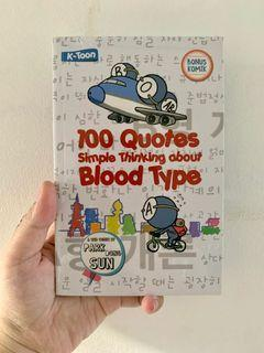 100 quotes Simple Thinking about Blood Type Book