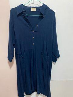 藍色及膝長袖裙