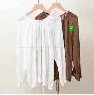 微透皺摺咖啡色開衩綁帶雪紡上衣 正反兩穿#斷捨離