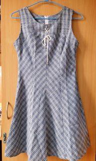 藍色格紋洋裝