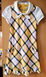 學院風黃藍色格紋洋裝