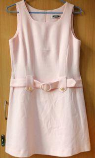 粉色 復古 洋裝 附腰带