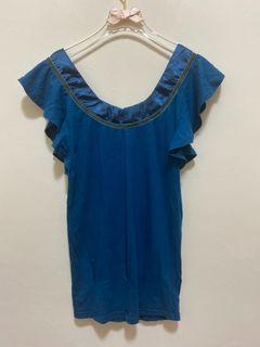 短袖上衣 U領 短袖T恤 荷葉邊荷葉袖 緞帶領口 彈性 合身腰身 素色休閒上衣女版-海軍藍色 青藍色 沒穿過
