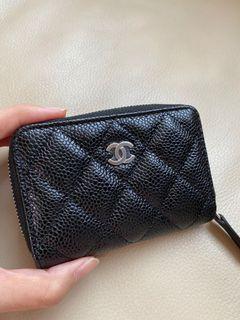 Chanel香奈兒經典黑銀卡夾零錢包