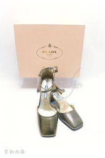 ICONLady Pink - PRADA 1I387F 金色皮革 高跟鞋 (SIZE: EUR 36)
