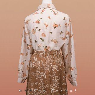 P0219 粉膚色 花卉 花叢 長袖 襯衫 復古 古著