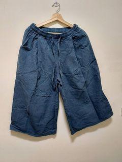 queen shop 藍綠色棉麻寬褲