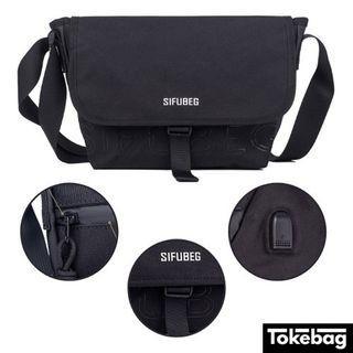 SIFUBEG Air Joe USB Port Waterproof Zip Cover Sling Bag Black 33cm x 22cm x 8cm