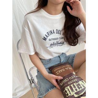 灰藍色划船短袖T恤/上衣