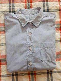 無印良品粉藍色平織布襯衫