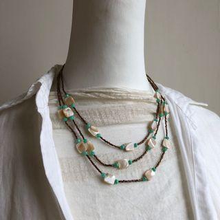 貝殼米珠復古項鍊