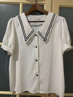 韓國蕾絲領短袖白襯衫,全新現貨