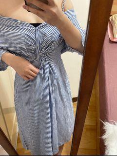 棉麻水藍直條紋露肩洋裝