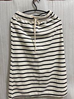 ✨黑白條紋  棉質 休閒 中長裙