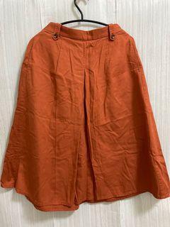 ✨橘紅色 熔岩紅 後腰部 鬆緊  中長裙