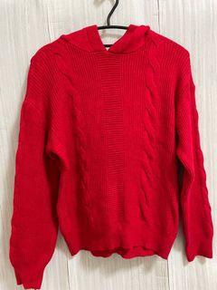 ✨近新 大紅色 麻花辮 落肩 連帽 厚針織上衣 毛衣