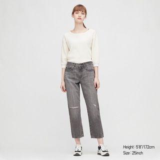 近全新轉賣 日本品牌 UNIQLO 女裝 寬鬆窄管九分牛仔褲 刷破刷色男友褲 直筒褲-灰色24