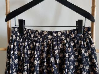 二手 vintage 古著 復古鄉村黑底米色碎花鬆緊腰長裙