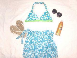 Aqua Bikini top and beach wrap sarong