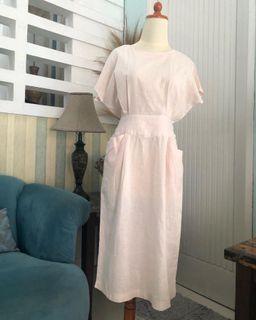 Baby pink linen dress