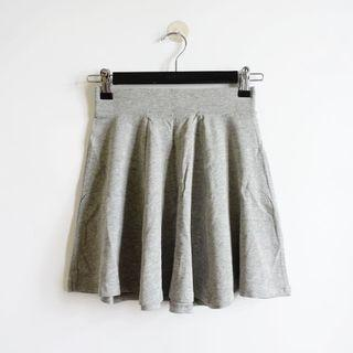 Bershka灰色素面腰鬆緊傘狀棉質短裙XS號